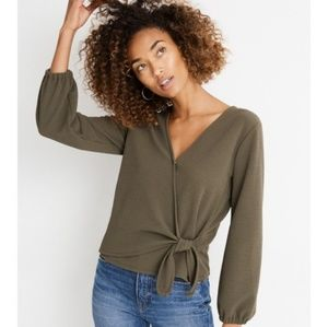 Madewell Texture & Thread Crepe Wrap Top (in Kale)